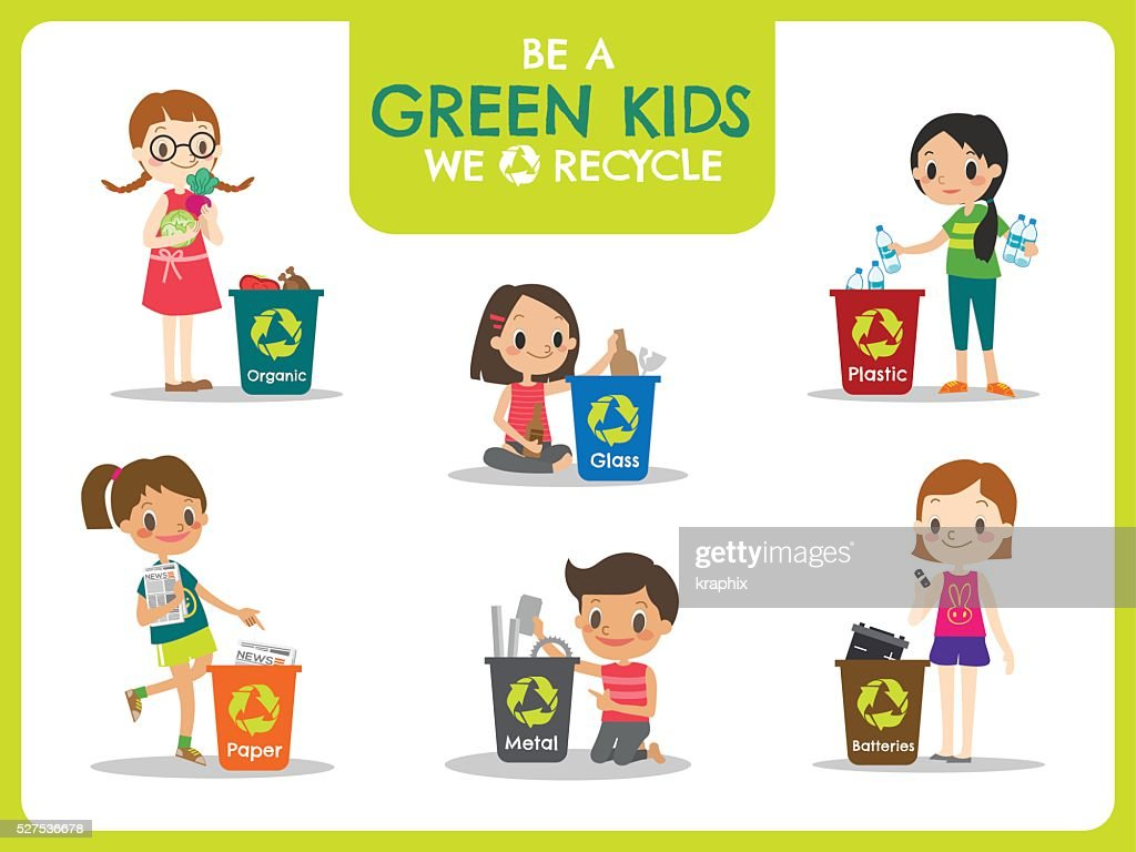kids segregating trash recycling concept illustration