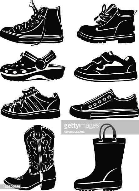 kid's shoes - illustration technique stock illustrations, clip art, cartoons, & icons
