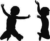 Kids Silhouettes isolated on white.