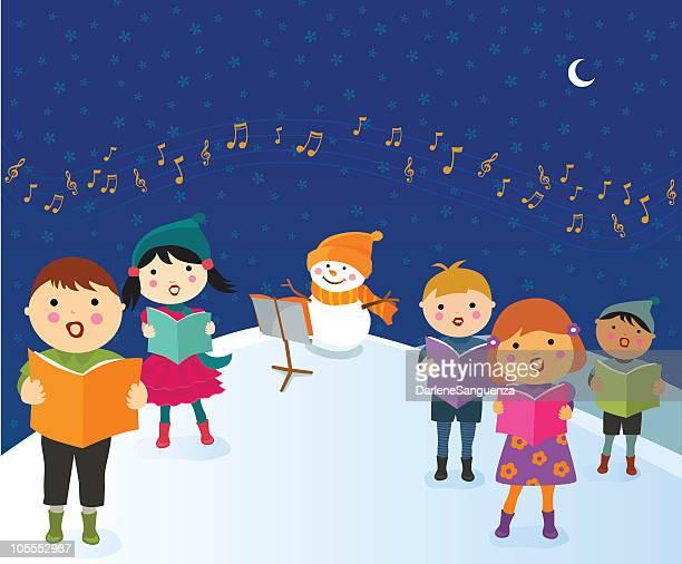 ilustraciones, imágenes clip art, dibujos animados e iconos de stock de niños canta cuento de navidad - director de orquesta