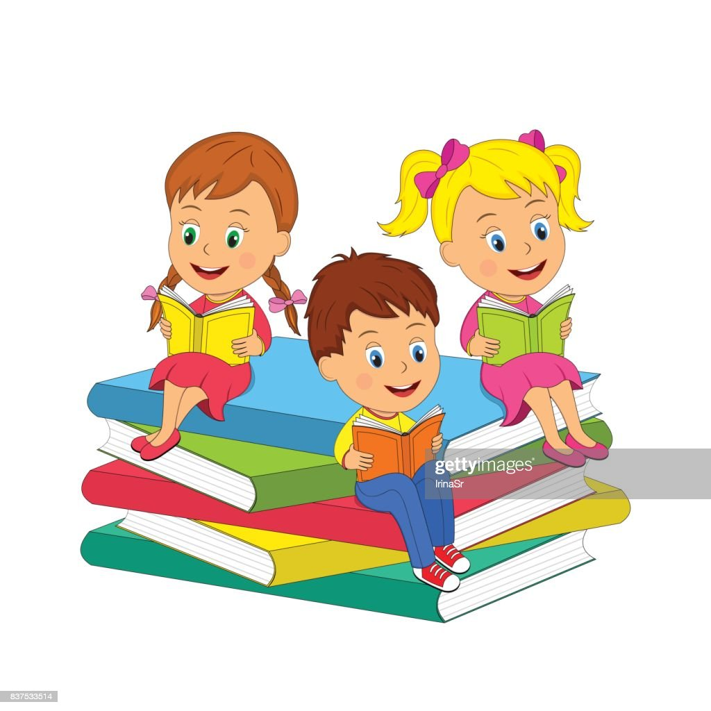 kids sit on the books