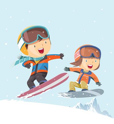 Kids snowboarding background - gettyimageskorea