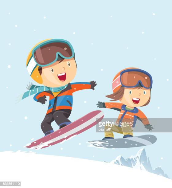 kids snowboarding background - motorcycle helmet isolated stock illustrations, clip art, cartoons, & icons