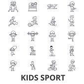 Kids sport, play, children sports, football, basketball, running, jumping, team line icons. Editable strokes. Flat design vector illustration symbol concept. Linear signs isolated