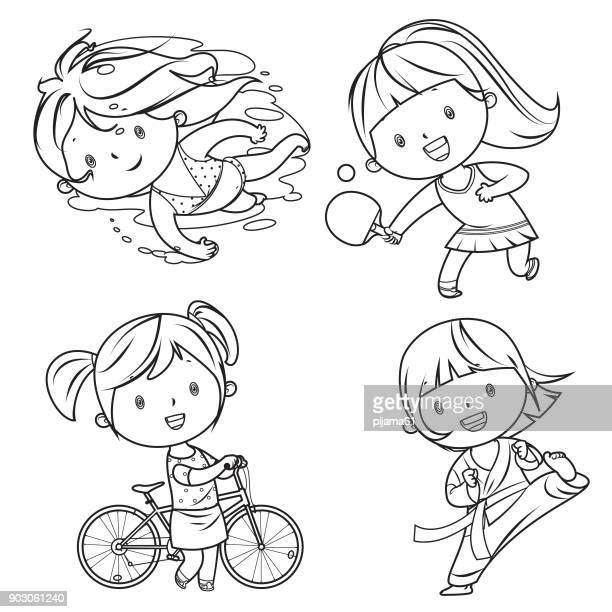 illustrazioni stock, clip art, cartoni animati e icone di tendenza di kids sports characters drawing - tempo turno sportivo