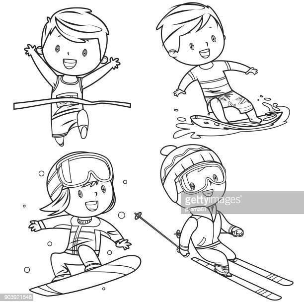 kids sports characters drawing - sport set competition round stock illustrations
