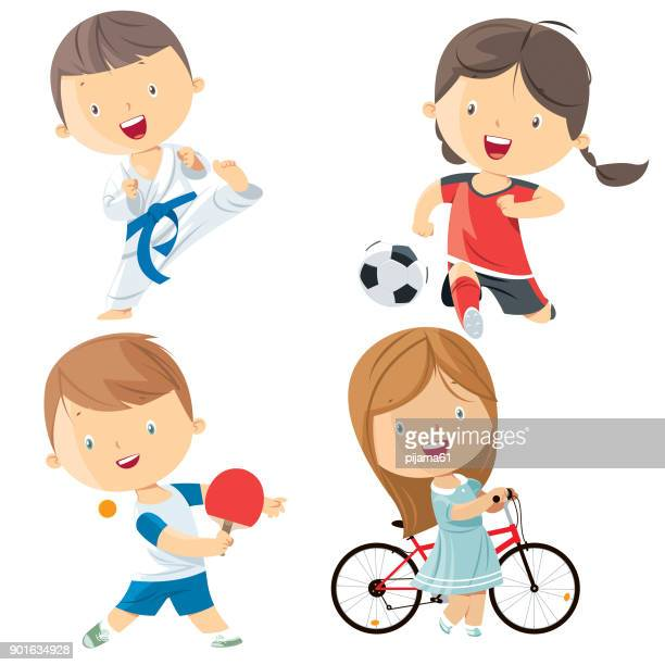 kids sports characters - sport set competition round stock illustrations