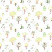 Kids style drawing doodle trees vector seamless pattern