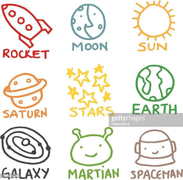 Kids style space related doodle icon set