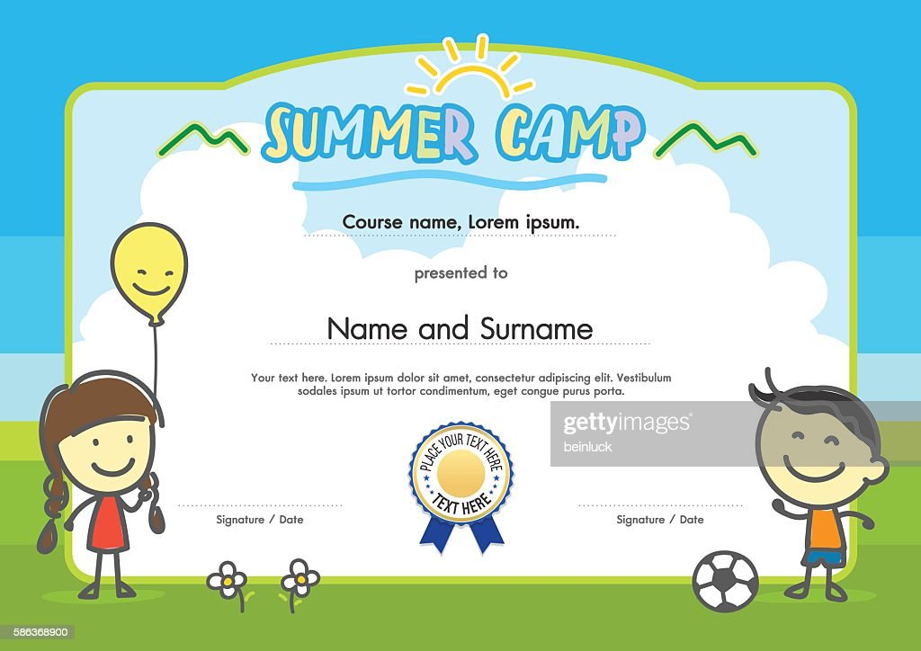 Kids summer camp certificate document template