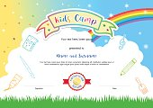 Kids summer camp diploma certificate template in cartoon style
