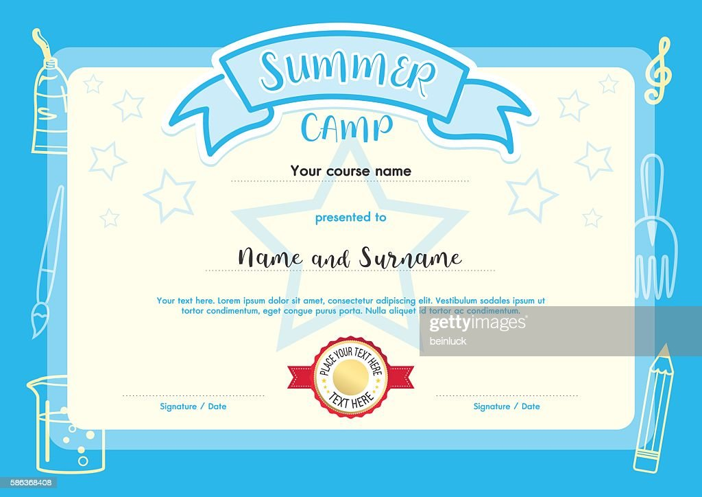 Kids summer camp document certificate template