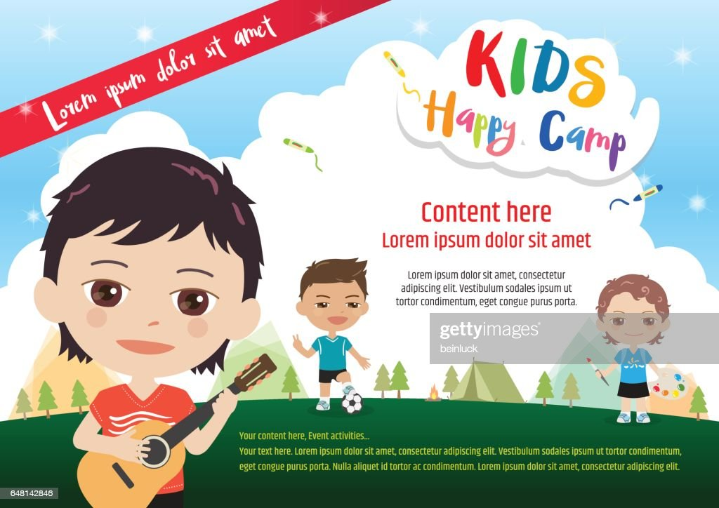 Kids summer camp poster or banner template in cartoon style