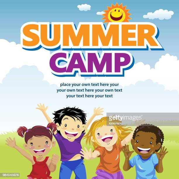 kids summer camp - messing about stock illustrations
