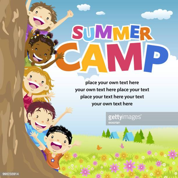 kids summer camp - child stock illustrations