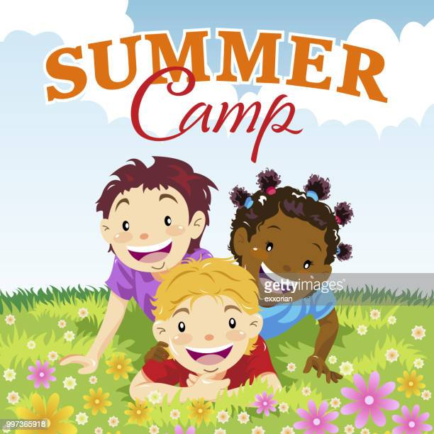 kids summer camp - natural parkland stock illustrations, clip art, cartoons, & icons