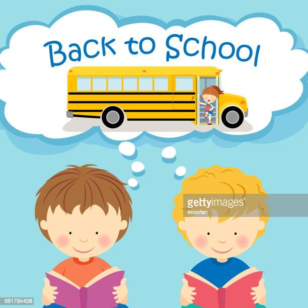 kids thinking back to school - disembarking stock illustrations