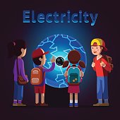 Kids touching plasma ball at electricity museum