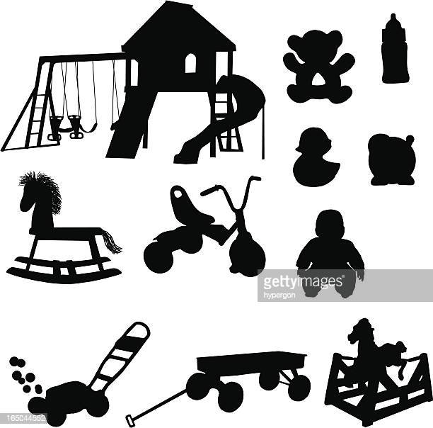 kids toy silhouette collection (vector+jpg) - crag stock illustrations, clip art, cartoons, & icons