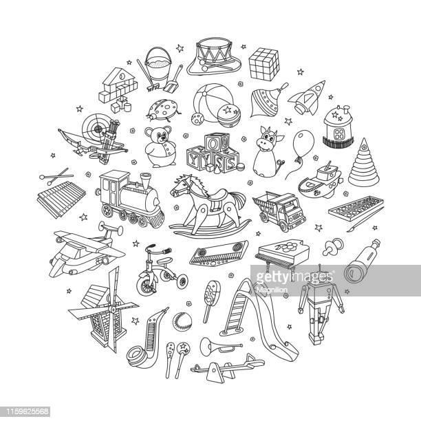 kids toys doodle set - toy stock illustrations