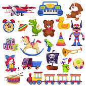 Kids toys set. Toy kid child preschool house baby game ball train yacht horse doll duck boat plane bear car pyramid