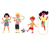 Kids twirling hula hoop, playing badminton, soccer, jumping over rope