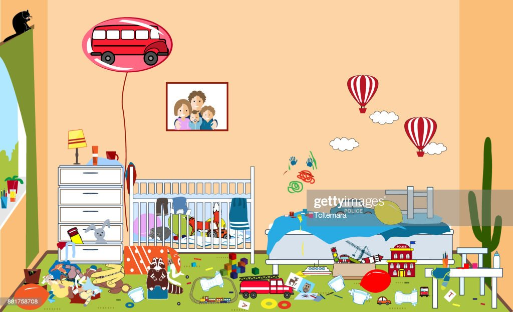 Kids untidy and messy room. Child scattered toys and clothing. Room where two little boys live. Mess in the house. Vector illustration