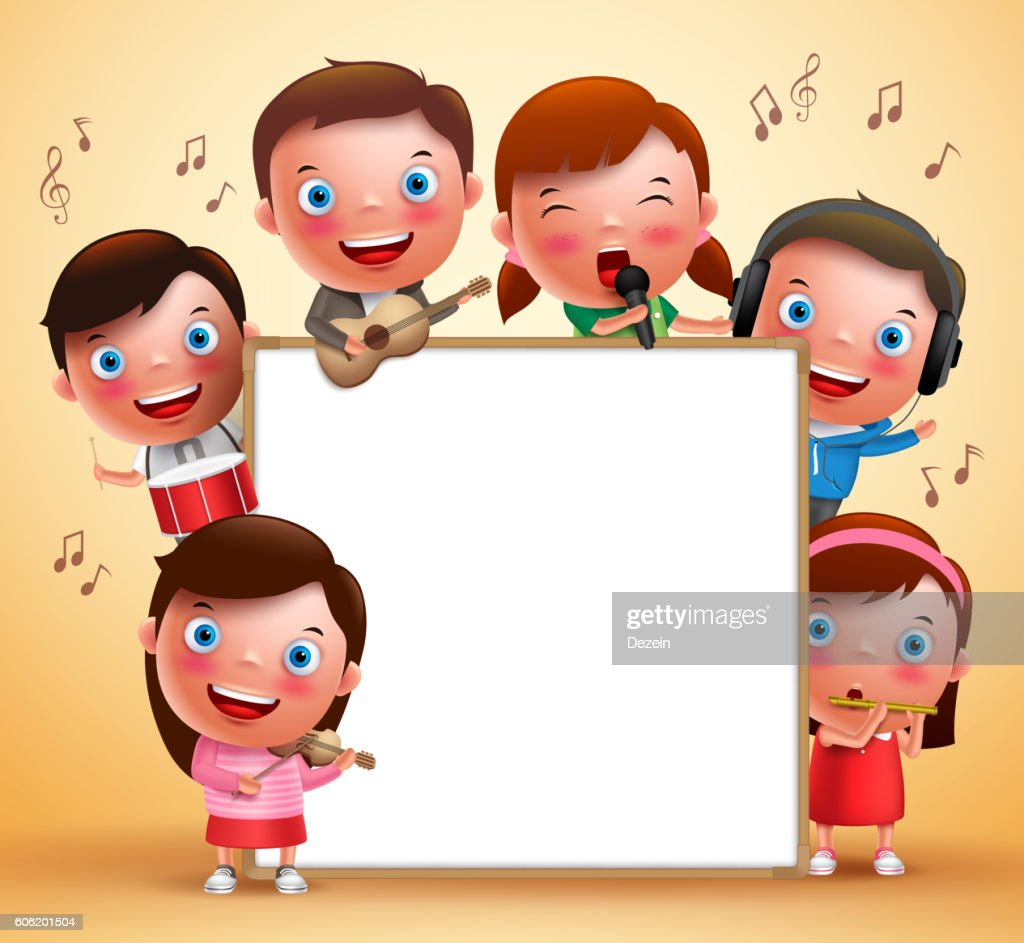 Kids vector characters playing musical instruments and singing