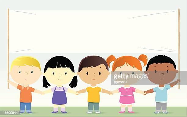 ilustraciones, imágenes clip art, dibujos animados e iconos de stock de los niños - agarrar