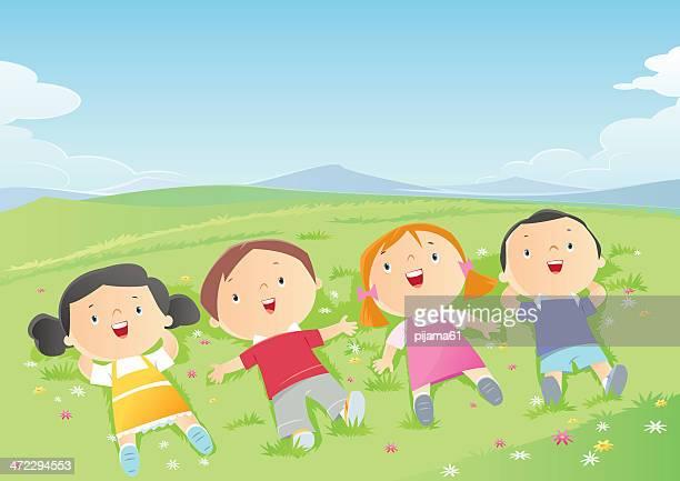 ilustrações, clipart, desenhos animados e ícones de as crianças - flowerbed