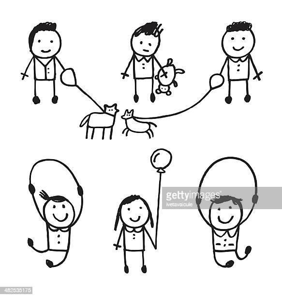 für kinder - strichmännchen stock-grafiken, -clipart, -cartoons und -symbole