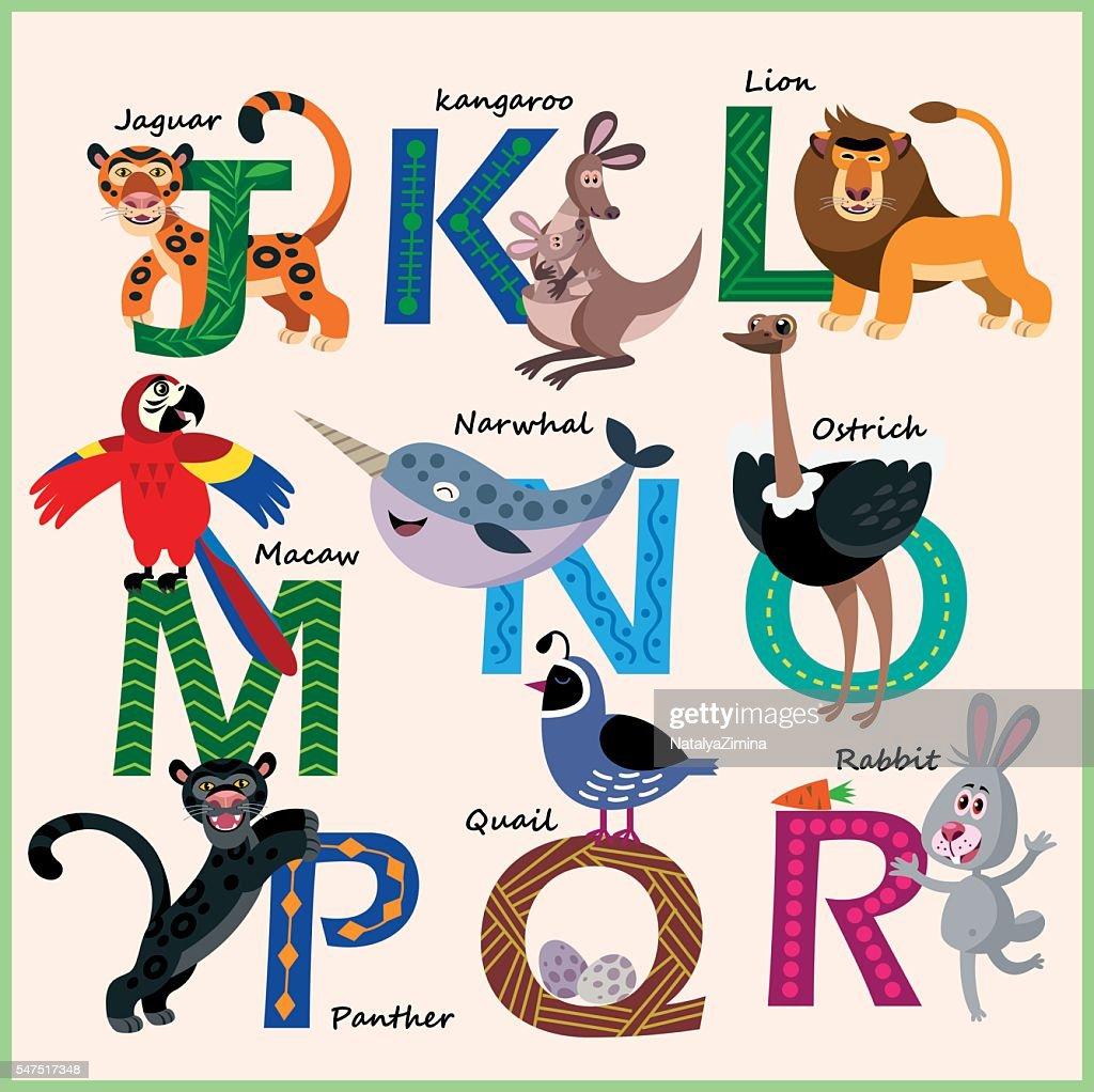 Kids vector Zoo alphabet with animals in cartoon style