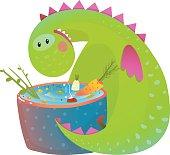 Kids vegetarian baby dragon eating cooking fun cute cartoon