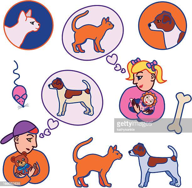 kids want pets - catmint stock illustrations