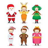 Kids Wearing Christmas Costumes Set