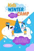Kids Winter Camp Banner Flat Vector Illustration