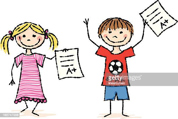 kids with a plus grades - report card stock illustrations