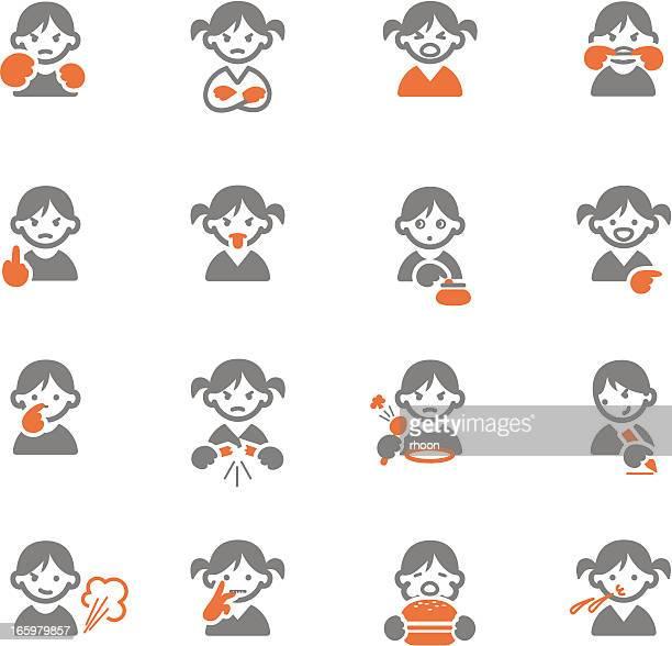 ilustraciones, imágenes clip art, dibujos animados e iconos de stock de los niños con malos hábitos y comportamiento - pedo