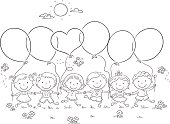 Kids with Balloons Outline
