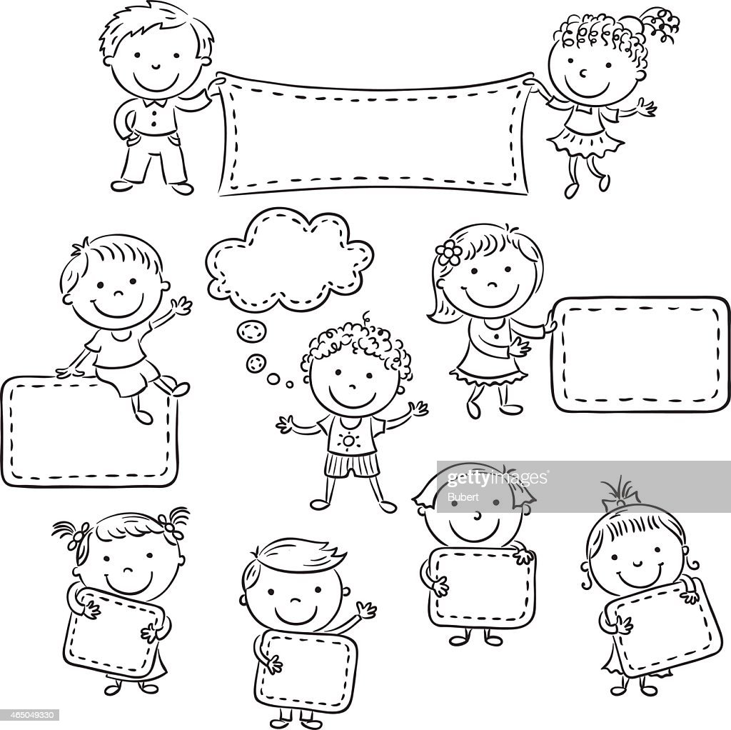 Kids with Blank Signs, black and white outline