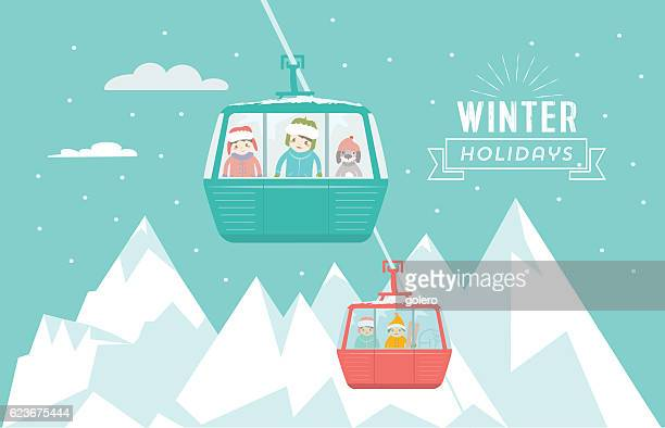 illustrations, cliparts, dessins animés et icônes de kids with dog in ski lift in winter mountains - ski