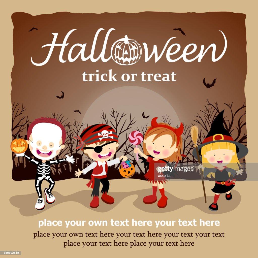 Kids with Halloween Costume : stock illustration