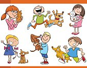 kids with pets cartoon set