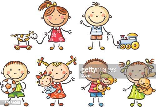 Kinder mit spielzeug vektorgrafik getty images