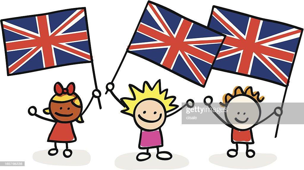 Kids With Uk Flags Vector Art