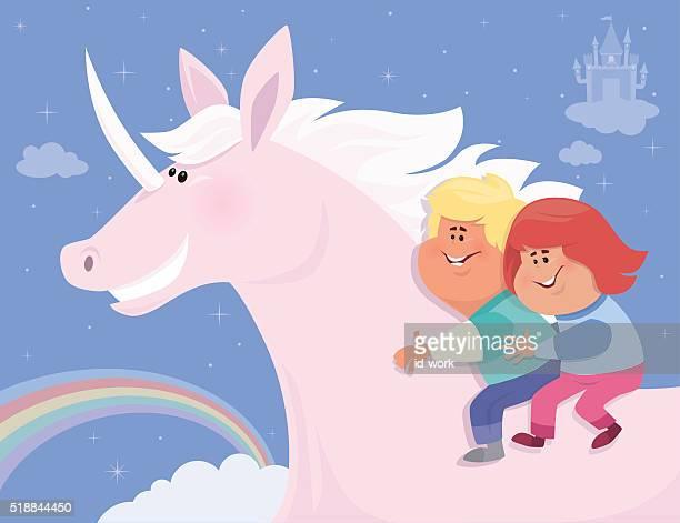 kids with unicorn