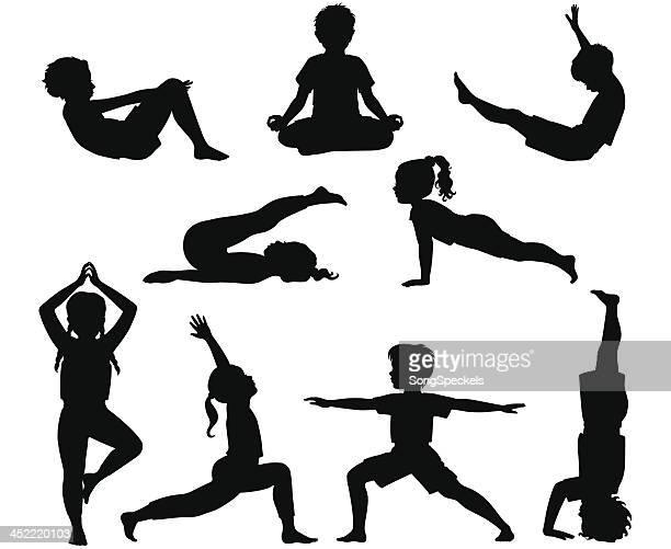 ilustraciones, imágenes clip art, dibujos animados e iconos de stock de niños de yoga - yoga