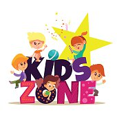 Kids zone banner with group of boys and girls playing.