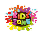 Kids zone colorful banner. Cartoon letters and paint splashes. Vector.