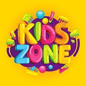Kids zone vector cartoon banner.